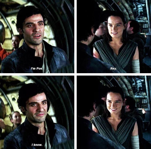 Rey and Poe have an intense first meeting